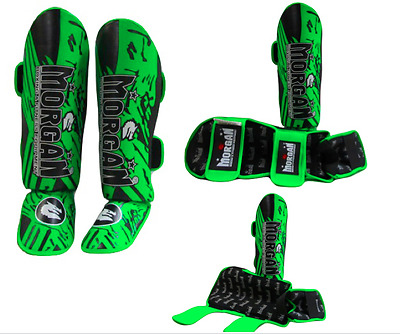 Premium Muay thai shin guard protector FLURO new pair Twins instep kick boxing