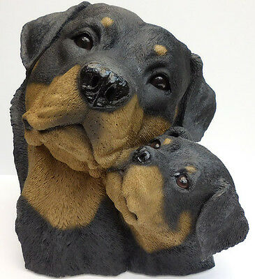 Living Stone Rottweiler And Pup Bust, Large Size  Item #73102