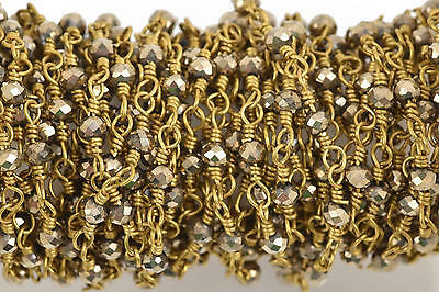 3ft MET BRONZE Crystal Rosary Bead Chain, gold dbl wrap, 3.5mm Rondelle fch0585a
