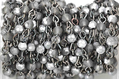 3ft Matte SILVER SMOKE Crystal Rosary Bead Chain, gunmetal, 4mm round fch0600a