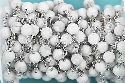 13ft WHT HOWLITE GEMSTONE Rosary Bead Chain, dbl wrap silver, 6mm round fch0601b