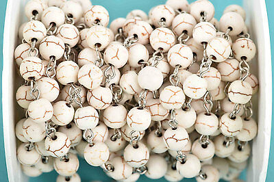 13ft WHITE Howlite Rosary Bead Chain-silver links-8mm round stone beads fch0603b