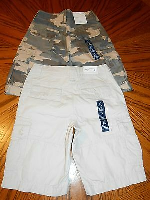 new gap kids green cargo / khaki shorts adjustable waist sz 7 regular