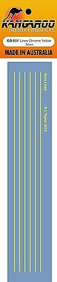 Model Decal Yellow lines .5mm thick high quality Screen Printed waterslide