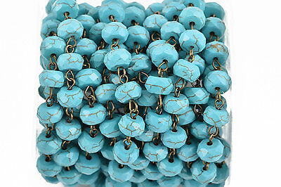 3ft TURQ BLUE Howlite Rosary Bead Chain, bronze, 10mm RONDELLE stone fch0623a