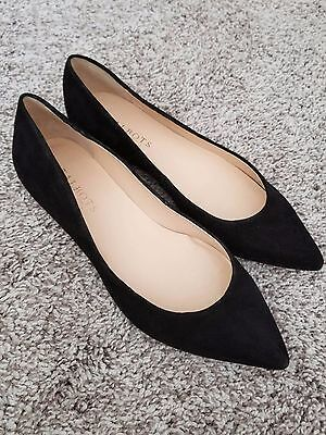 Talbots Women's Black Suede Leather Pointed Toe Ballet Flats Shoes Size 7.5