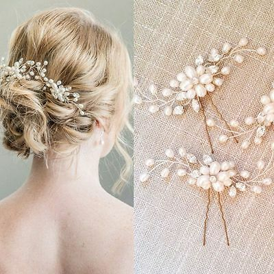 Party Pearl Simulated Crystal Hairpins Hair Fork Bride Headdress Floral Shape