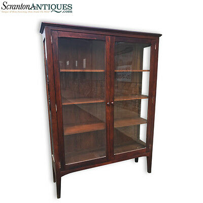 Antique Arts & Crafts Mission Bookcase Curio Cabinet w/ Glass Doors & Sides