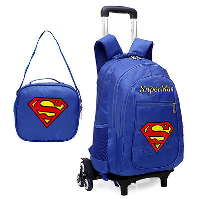 Boy's Super Man Backpack With Wheels High-Q Draw-bar Schoolbag Portable Luggage