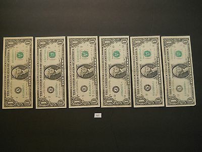 6 - $1 Dollar 1988 Star Federal Reserve Notes  6 Districts