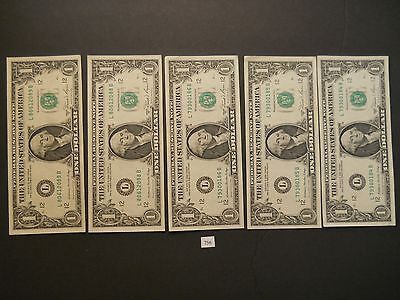 5 - $1 Dollar Federal Reserve Notes in Sequence L-San Francisco 2 groups