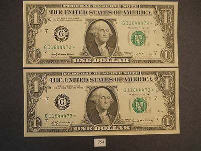 2 - 1969 Star Federal Reserve Notes in Sequence PERFECT !!!