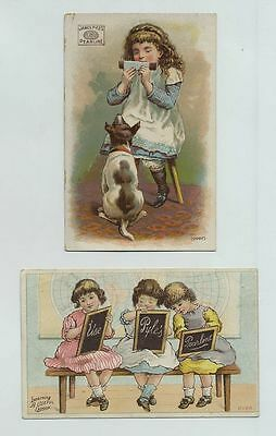 (2) 1800's Advertising Trade Cards Pearline Soap Beautiful Children Dog cv8303