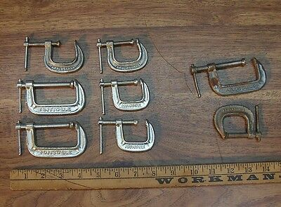 """Old Used Tools,6 Small """"Adjustable"""" Brand """"C"""" Clamps & Two Bonus Clamps!!"""