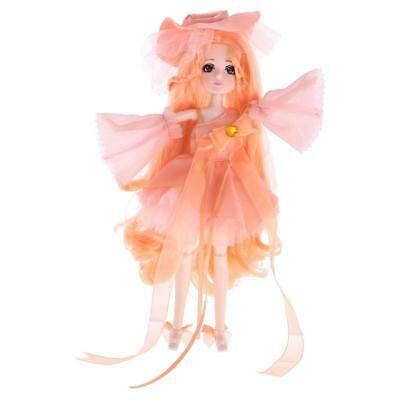 27cm Vinyl Jointed Body Doll -Making Wonderful Postures Toy Gift Orange Pink