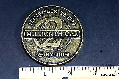 2 Millionth Car Hyundai Bronze Medallion September 29, 1999 (5125-16)