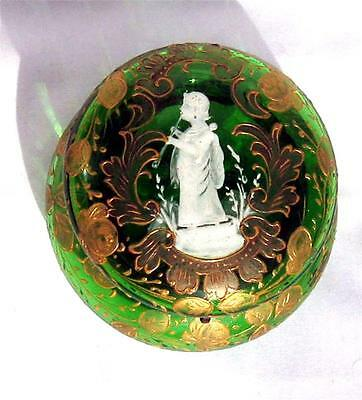 Antique Mary Gregory Gold Enameled Green Powder Trinket Box