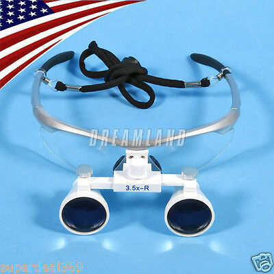 USA New Dental Optical Surgical Binocular 3.5X Loupes Glasses Magnifier Silver