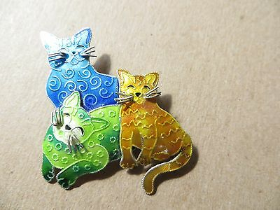 Vintage Zarah Sterling Silver Enamel Cat Pin Brooch