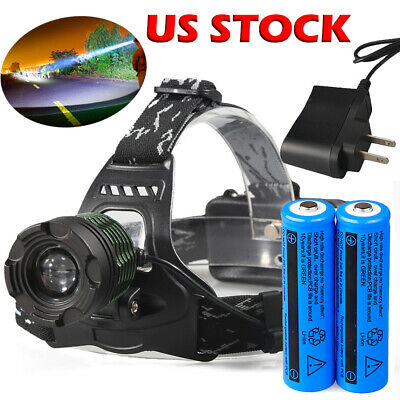 20000Lumens XML T6 Zoomable LED Headlamp Focus Head Light 18650+Charger USA
