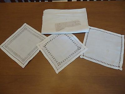 Primitive Flax Linen Doilies & Extra Fabric with Note Provenance Antique