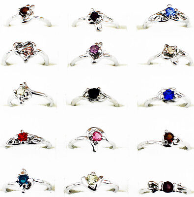 30 pcs Small Size Children Rings Wholesale Lot White Gold Plated Kid's Jewelry