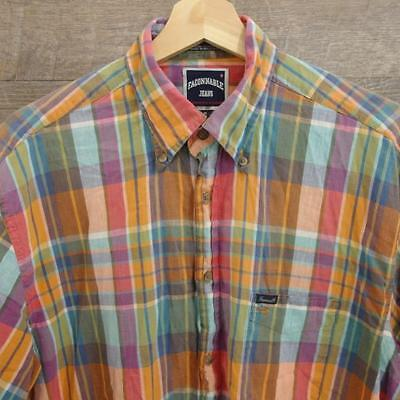 Faconnable Jeans  Mens Button Down Shirt Short Sleeve Cotton Plaid Size M