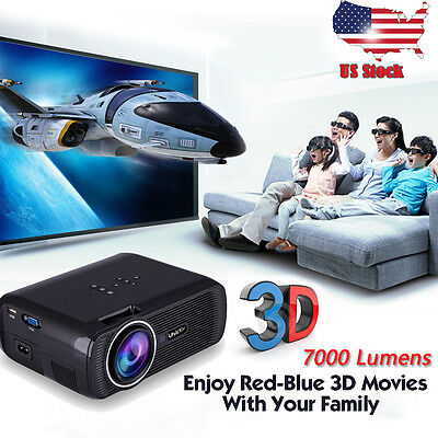 7000 Lumens 1080P HD Multimedia Portable Projector 3D LED Home Theater Cinema US