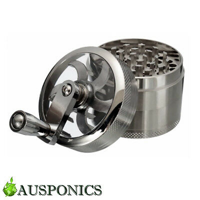 2x 4-LAYER ALUMINIUM HERB GRINDER With Hand Crank For Herbal/Tobacco Grinding