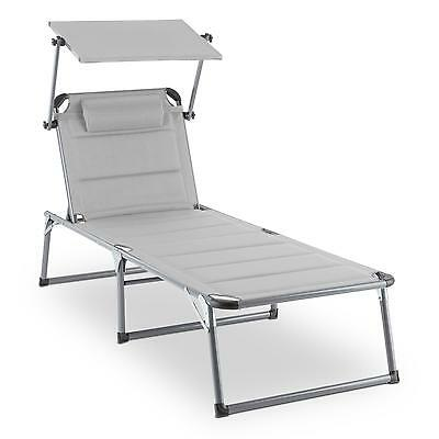 Grey Sun Lounger Recliner Metal Folding Patio Garden Chair Camp Canopy Sunshade
