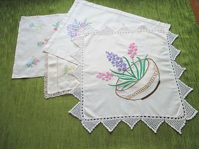 Vintage Tray Cloths & Table Center-Hand Embroidered-Coll. Of 4