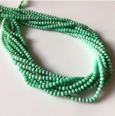 5 Strands 4mm Faceted Chrysoprase Round Rondelles Beads 13 Inches Each GDS537/1