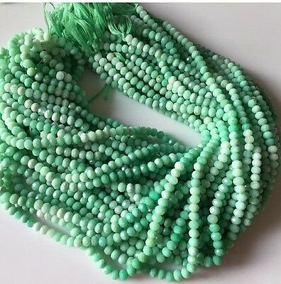 5 Strands 5mm Faceted Chrysoprase Shaded Round Rondelle Beads 13 Inches GDS539/1