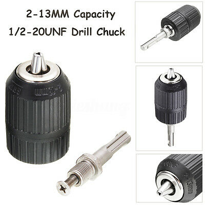 2-13mm 1/2'' 20UNF Keyless Drill Chuck Thread Mount With SDS Plus Adapter Tool