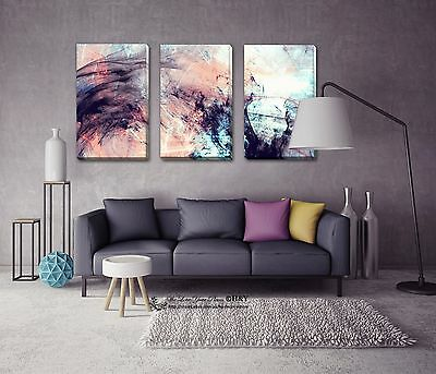 Set Of 3 Abstract Stretched Canvas Prints Framed Wall Art Home Office Decor DIY