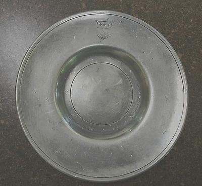 Antique Pewter Plate w/ Interesting Shield Design