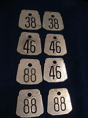 8 old vintage 1960s aluminum not brass cow tags 2)#38 3)#46 & 3)#88 by Hasco Co.