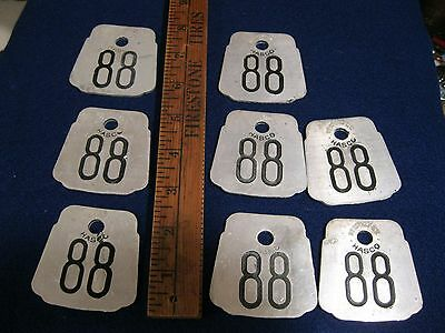 8 old vintage 1960s aluminum not brass cow tags 8)#88 by Hasco Co. Newport KY