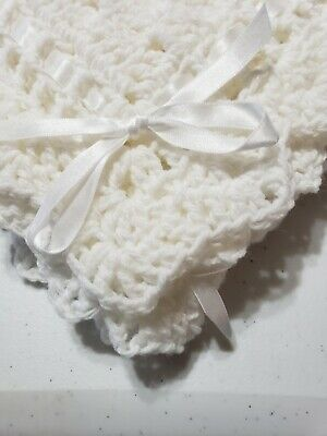 White Baby Blanket Boys Girls Crochet Christening  with White ribbon car seat
