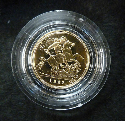 1987 Gold Royal Mint Proof Half Sovereign Solid 22Ct Boxed As Issued