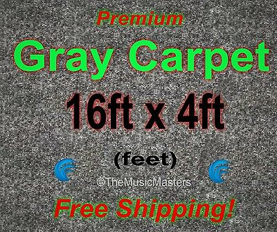 16' x 4' GRAY CARPET for Car Sub Speaker Box Cabinet Road Case Trunk Liner Grey