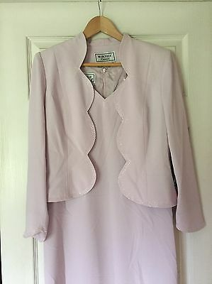 Marcelle Couture Mother Of The Bride Dress Pink Beads Scalloped Jacket Size 8