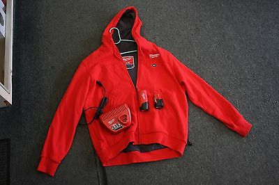 Milwaukee M12 Heated Gear Hoodie Size L W/2 Batteries + Charger EXCELLENT!!!