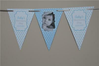 PERSONALISED CHRISTENING Boy Girls BUNTING Stars BANNER Baptism Photo Any Colour