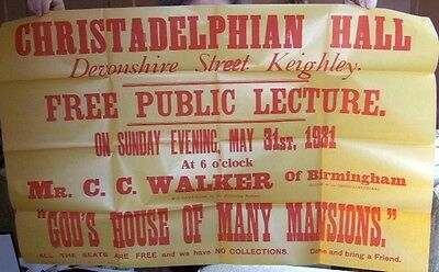 Keighley Christadelphian Hall Lecture Poster.  God's House of Many Mansions 1931