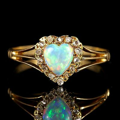 Antique Edwardian Opal Diamond Heart Ring 18Ct In Original Heart Box 1908