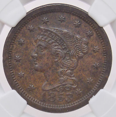 1853 Braided Hair Large Cent 1C NGC UNC Details Improperly Cleaned (#3427)