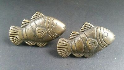 "2 Tropical Fish Brass Knobs Pulls Handles Ocean Beach Seaside Hardware 2"" #K11"