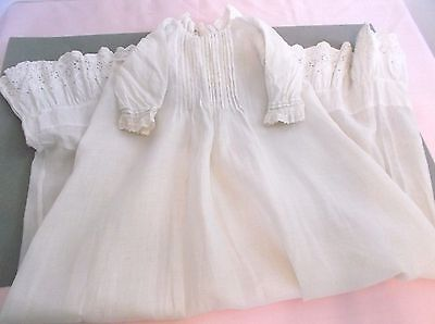 Antique Victorian Doll Clothes Baby Gown 1900's Embroidered Lace