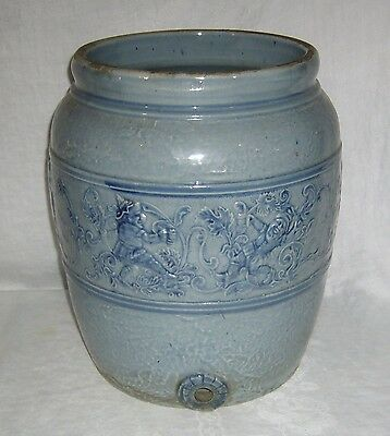 Antique Blue White Salt Glaze Robinson Stoneware Gnome Water Cooler ~ No Spigot